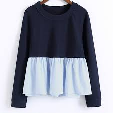 baby blue blouse casual sleeve blouse shirt tops ruffle navy baby blue