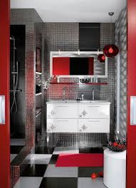 Pictures For Bathroom Wall Decor by Red Bathroom Decor Ideas White Stained Wooden Open Cabinet Black