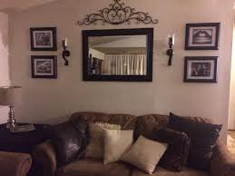 Leather Sofa Cushions Living Room Wall Sconce Accent Framed Mirror Picture Frame Brown