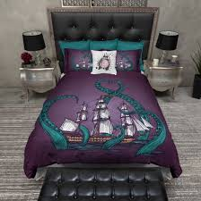 teal tentacle purple octopus kraken ship duvet bedding sets ink