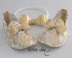 glamorous baby booties metallic gold baby shoes princess