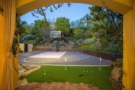 Half Court Basketball Dimensions For A Backyard by 34 Spectacular Backyard Sports Court Ideas