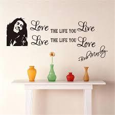 chambre bob marley sticker décoration murale salon chambre bob marley sentence noir