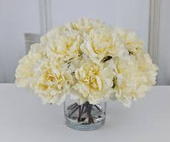 Peony Floral Arrangement by Large Cream Ivory Peony Peonies Silk Floral Arrangement Glass