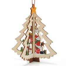 sale 3d wooden pendant bell tree hang ornaments
