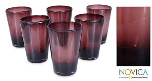 Amethyst Glass Vase Set Of 6 Handmade Tall Amethyst Glass Tumblers Mexico Free