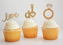 cupcake toppers cupcake toppers engagement cupcake toppers gold