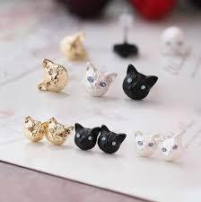 cat stud earrings black cat stud earrings