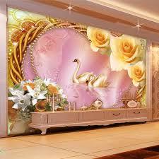 popular romantic wall murals buy cheap romantic wall murals lots custom photo wallpaper 3d stereo non woven romantic rose swan love living room sofa tv