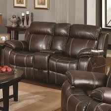 Sofa And Recliner Gliding Loveseat W Cup Holders By Coaster