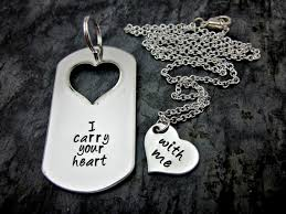his and hers dog tags i carry your heart with me his and hers necklace and keychain