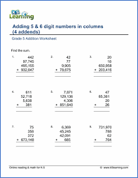 grade 5 addition u0026 subtraction worksheets free u0026 printable k5