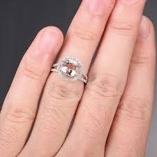 morganite engagement ring white gold 14k white gold engagement ring split shank morganite