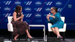 first lady michelle obama and oprah winfrey hold a conversation on
