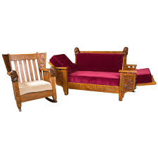Mission Style Futon Couch Antique Oak Mission Style Settee And Rocker At 1stdibs