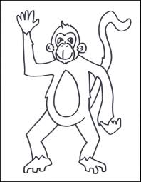 monkey coloring pictures kids brandsomasz