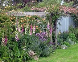 red kitchen scheme english cottage garden pergola english garden