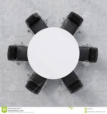 White Circle Table by Top View Of A Conference Room A White Round Table And Six Chairs