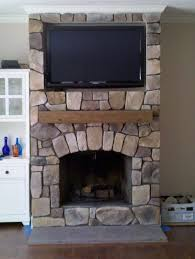 interior cool brown stone fireplace for living eoom interior