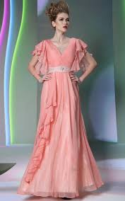 ruched chiffon coral bridesmaid long dresses 2014 with sleeves