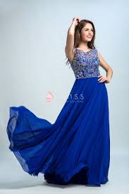 silver jeweled embellished royal blue chiffon a line vintage prom