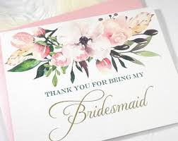 thank you bridesmaid cards bridesmaid thank you etsy