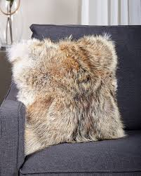 Mongolian Lamb Cushion Full Pelt Coyote Fur Pillow Fursource Com