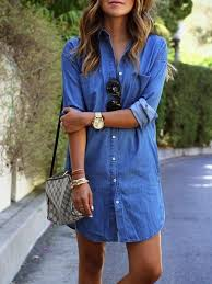 h line denim casual long sleeve casual dress justfashionnow com