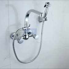 wall mount kitchen faucet with spray aliexpress com buy dual handles brass chrome bathroom kitchen