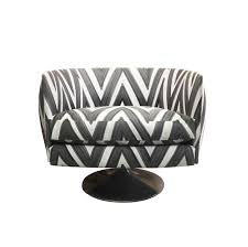 Black And White Striped Chair by Vintage Round Back Swivel Chair In Hand Painted Zig Zag Livio De
