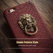 vintage lion ring holder images Kerzzil snake skin lion head pu leather hard case for iphone new jpg