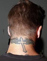 simple grey ink cross wings design on s neck back