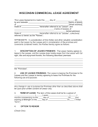 free wisconsin commercial lease agreement form pdf word
