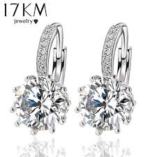 zirconia earrings fashion alloy silver color 10 color geometry earring