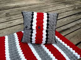 Ohio State Home Decor Ohio State Pillow Cover Crochet Pillow Cover Buckeye Helmet