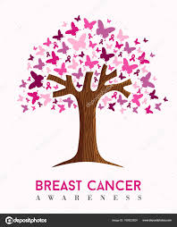 breast cancer awareness pink butterfly tree stock vector