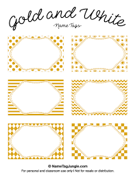 gold name tag free printable gold and white name tags with chevrons polka dots