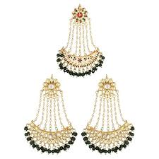 Buy Kundan Embellished Dangler Earrings Buy Green Beads Kundan Chand Bali Gold Plated Dangler Earrings