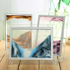 sand art picture moving sand glass home office desk table holder