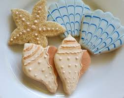 seashell shaped cookies seashell cookies etsy
