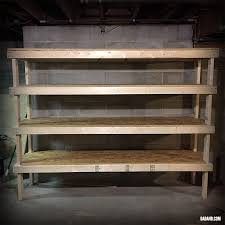 Building Wood Shelf Garage by Diy 2x4 Shelving For Garage Or Basement Dadand Com Dadand Com