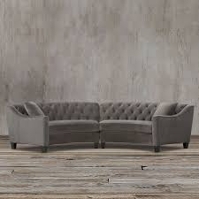 Curved Settees And Sofas by Horchow Style Gray Velvet Mid Century Glam Curved Sofa Loveseat