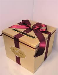 Money Wedding Gift Wedding Card Box Gold And Burgundy Gift Card Box Money Box