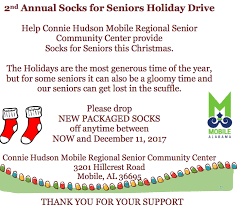 2nd annual socks for seniors drive at connie hudson mobile
