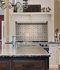 Kitchen Tiling Designs Rustic Unique Hand Printed Decorative Tile On Limestone Accent