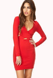 forever 21 daring cutout bodycon dress in red lyst