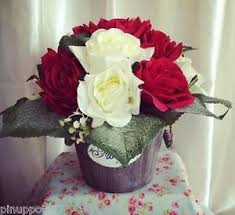 Shabby Chic Flower Arrangement by Artificial Flower Arrangement Red White Roses Vintage Gift Shabby