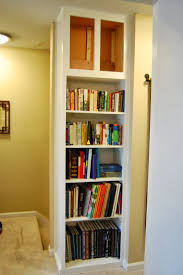 Built In Wall Shelves by Furniture White Stained Wood Corner Built In Tall Wall Book Shelf