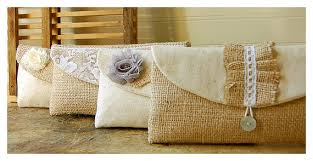 wedding gift kits handmade burlap lace wedding shabby chic bridemaid clutch