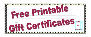 custom gift certificates free printable gift certificates a chat coffee